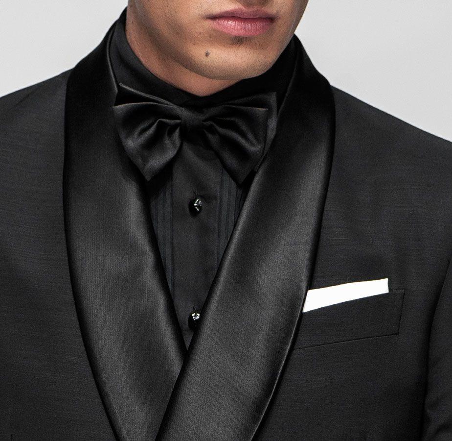 1b9daea62568 all black tuxedo with black shirt black bowtie | ... cuff, combined with black  satin bow tie, white linen handkerchief