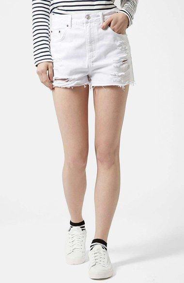 aff982ea0c $58, White Ripped Denim Shorts: Topshop Moto White Denim Shorts. Sold by  Nordstrom