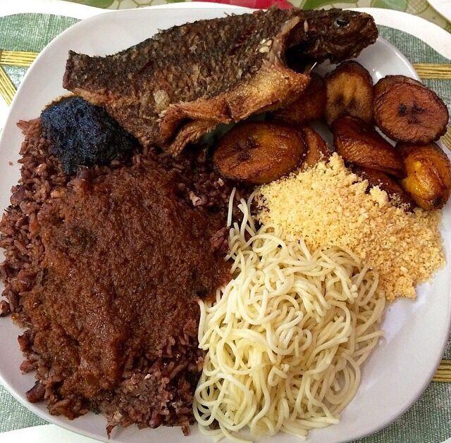Waakye with gari and fish African food, Soul food dinner