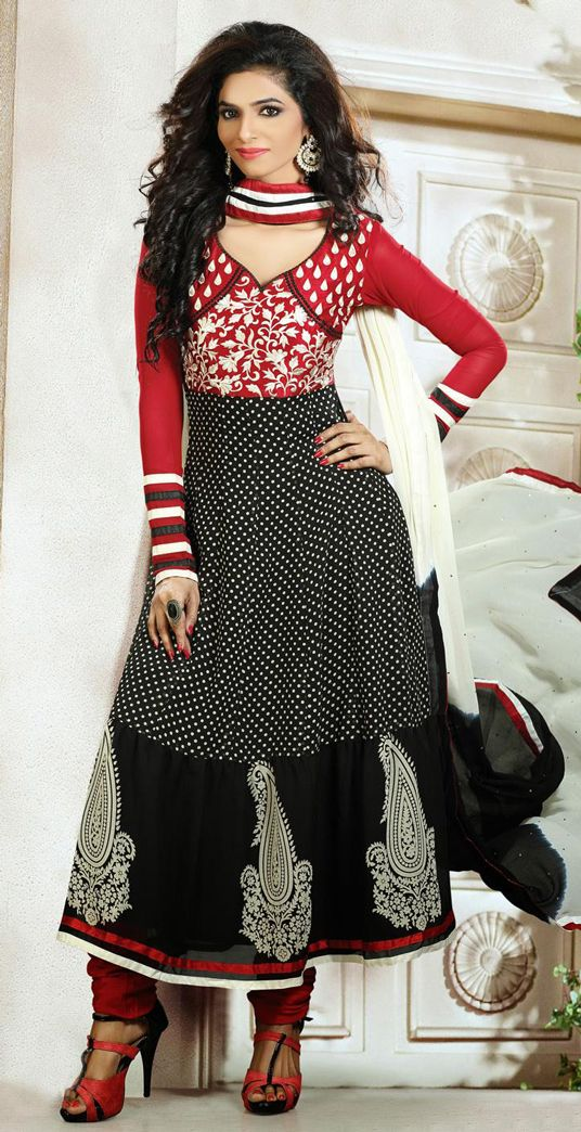 Red and Black Faux Georgette Salwar Suit 29918