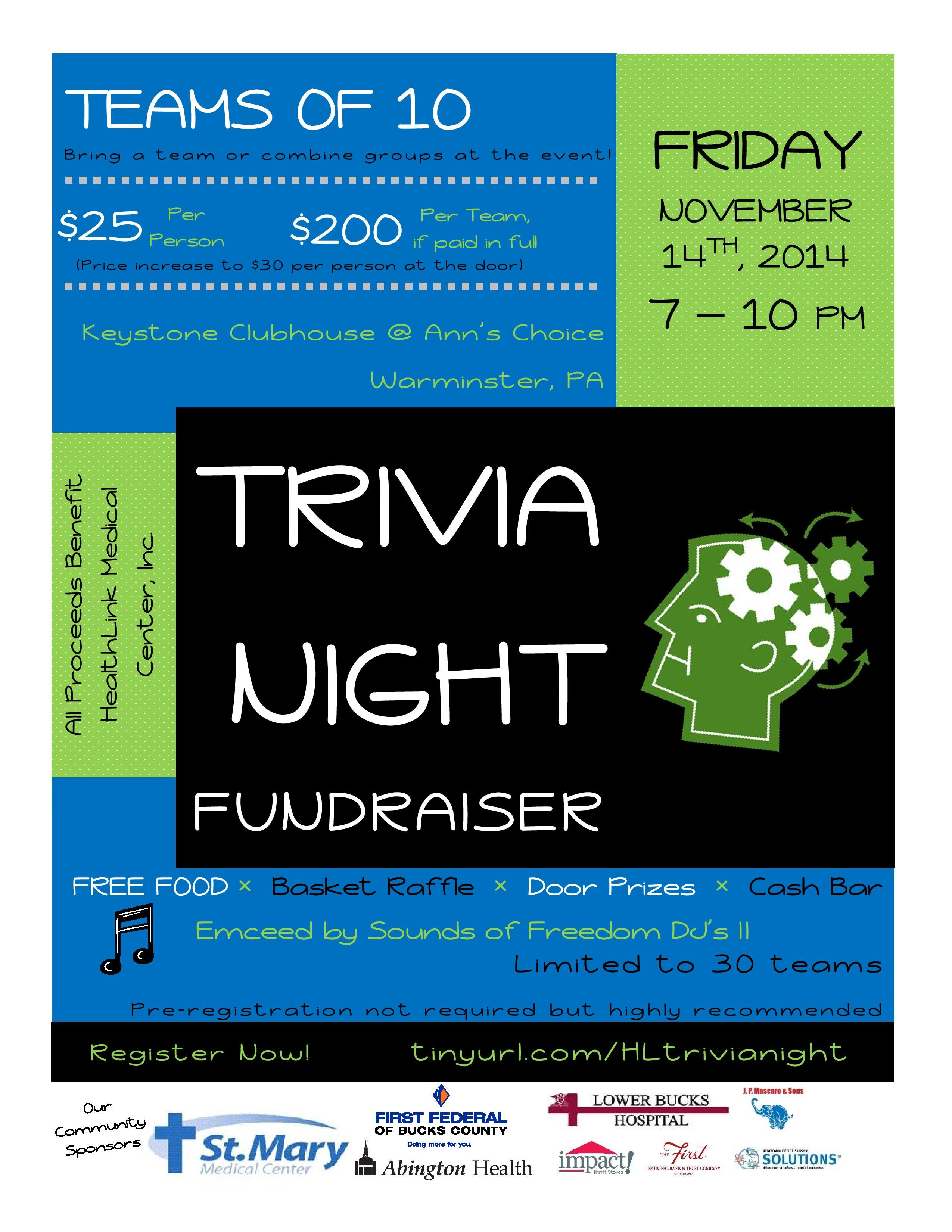 Trivia night fundraiser prizes
