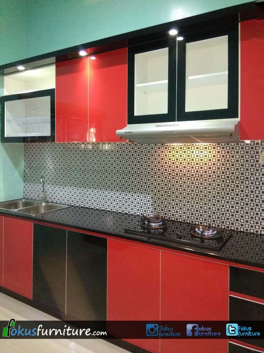 Kitchen set merah hitam di Lebak | Dapur, Desain