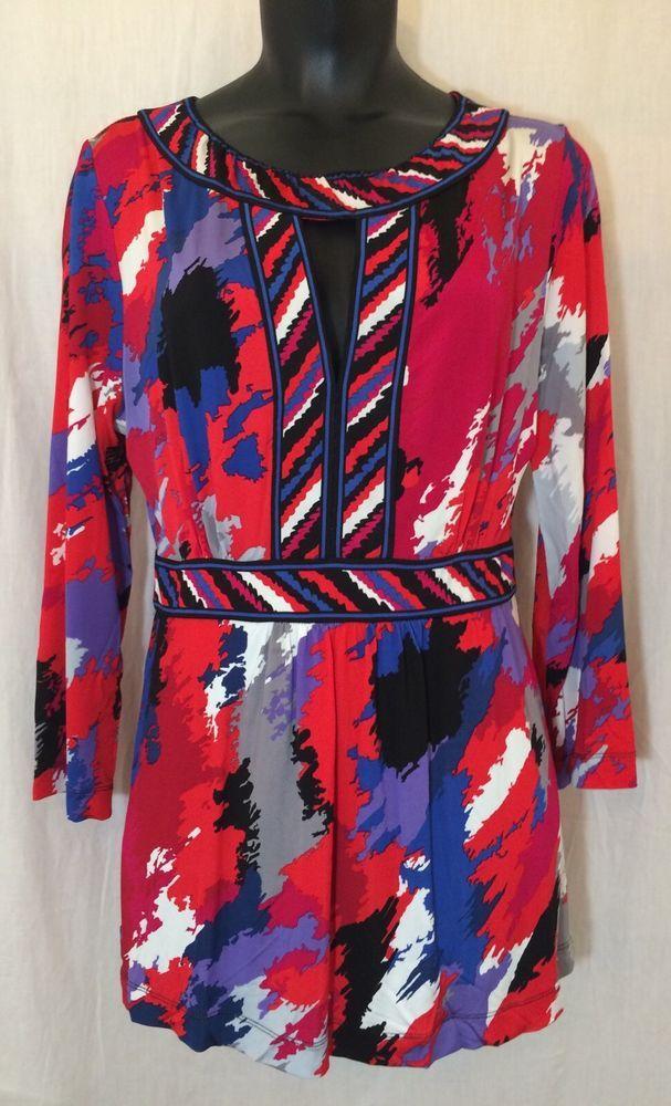 BCBG Max Azria Size Medium M Top Blouse Tunic Bright Colors Peek-a-Boo Neckline  #BCBGMAXAZRIA #Tunic #Casual