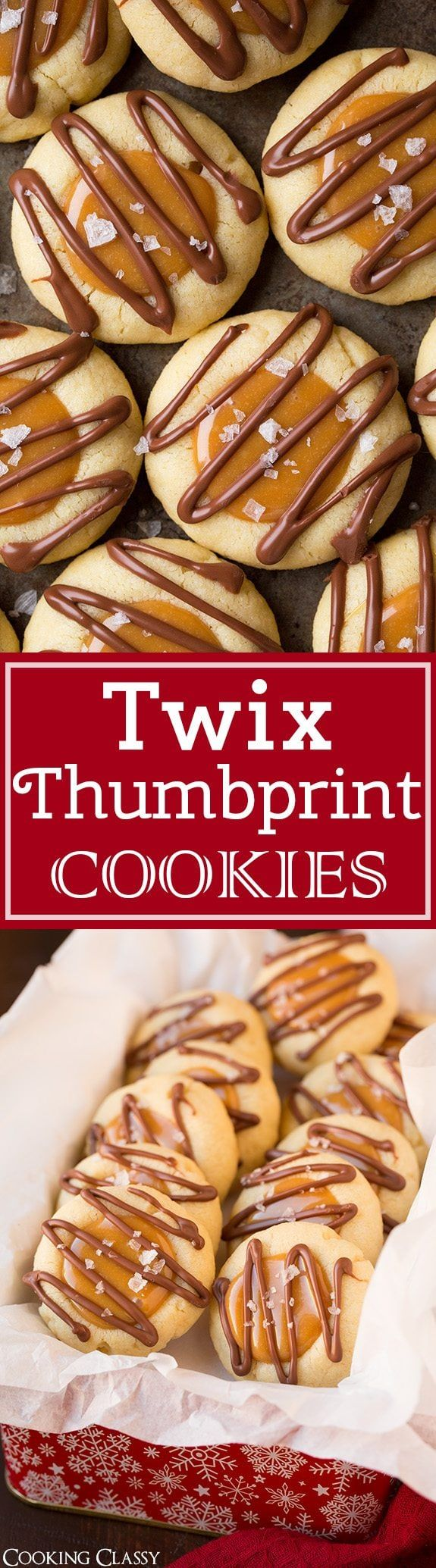 Twix Thumbprint Cookies  A buttery tender thumbprint cookie filled with an easy sweet caramel filling and finished with a milk chocolate drizzle and flaked sea salt These...
