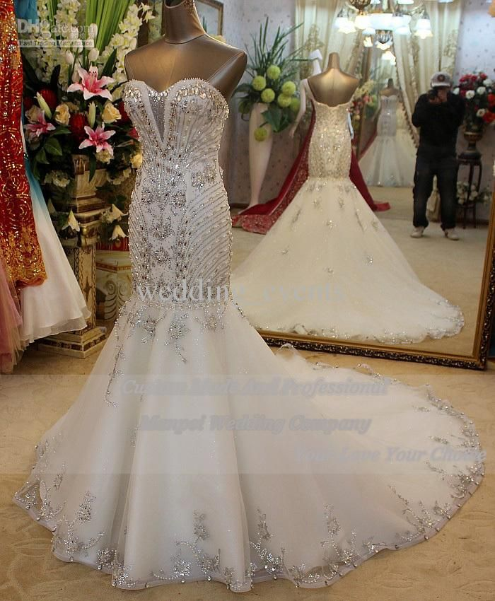2ecad2759e3d Best Choice Mermaid Trumpet Sweetheart Lace Up Floor Length Bridal Gown  With Court Beading Sequins Rhinestone Luxury Sexy Wedding Dresses