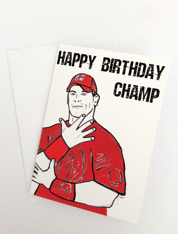 Birthday Champ- Wrestling John Cena inspired card/invitation | WWE ...