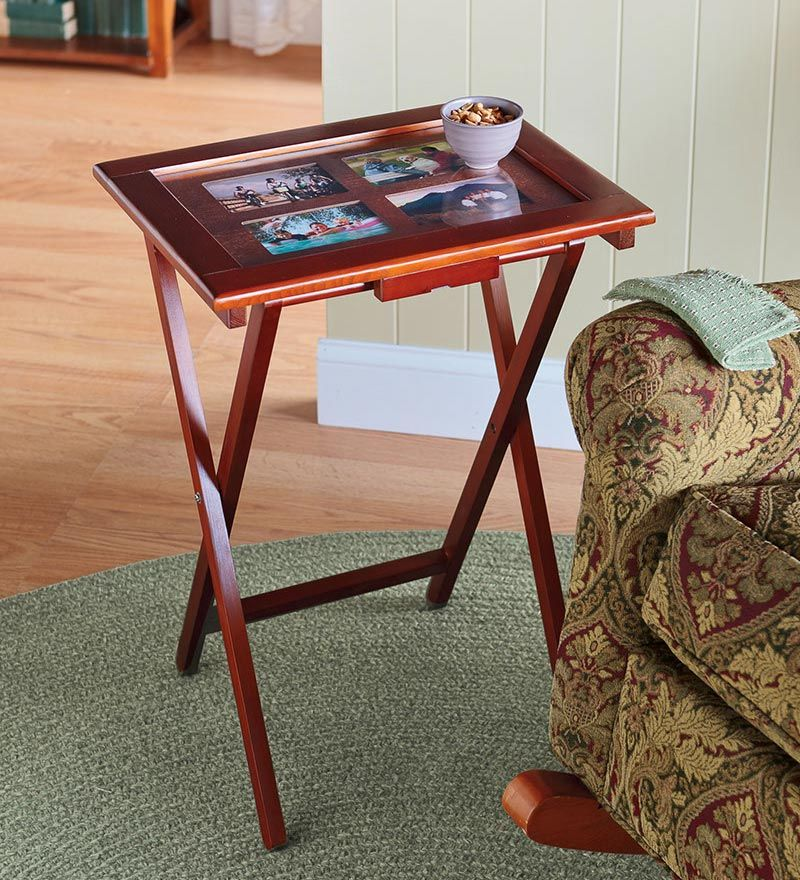 Folding Wooden Photo Tv Trays Set Of 4 With Storage Stand
