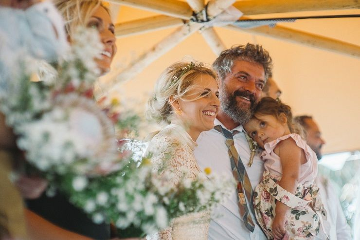 Wedding Ceremony under the Tipi in the backyard | fabmood.com #tipiwedding #wedding #backyardwedding #countrywedding #bohemianwedding