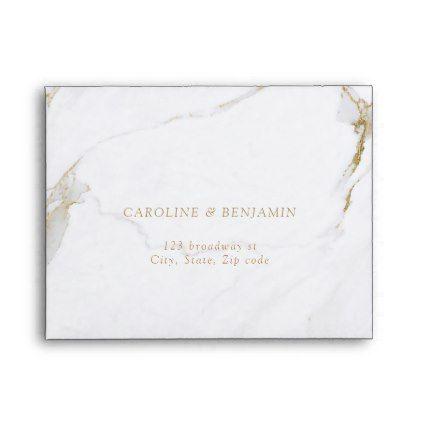 Faux Gold Foil Marble Luxury Modern Wedding Rsvp Envelope Elegant Gifts Gift Ideas Custom Presents