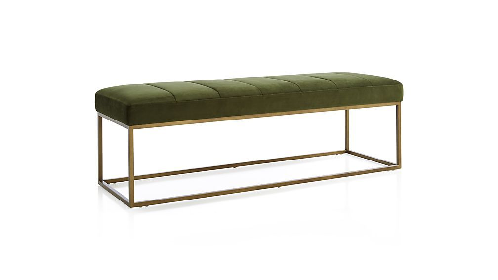 Brilliant Channel Dark Green Velvet Bench Damen Furniture Machost Co Dining Chair Design Ideas Machostcouk