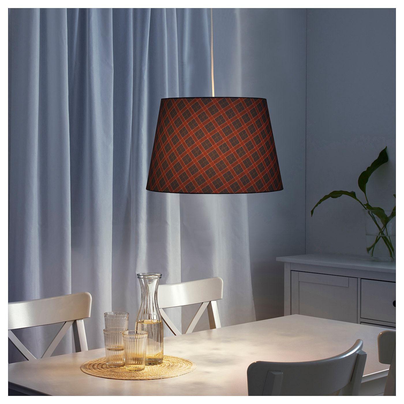 IKEA RYRA Lamp shade check red, blue Bedroom light