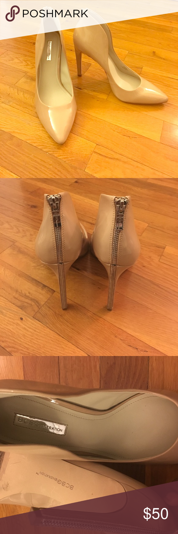 """BCBG ' Conrad' patent nude heel BCBGeneration patent nude pointed toe heels. 4.75"""" heel with a cute zipper detail on the back. Worn a few times. The adhesive from the sticker was left on the bottom of the shoe (my fault) so that is a flaw. Other than that the shoes are gorgeous BCBGeneration Shoes Heels"""