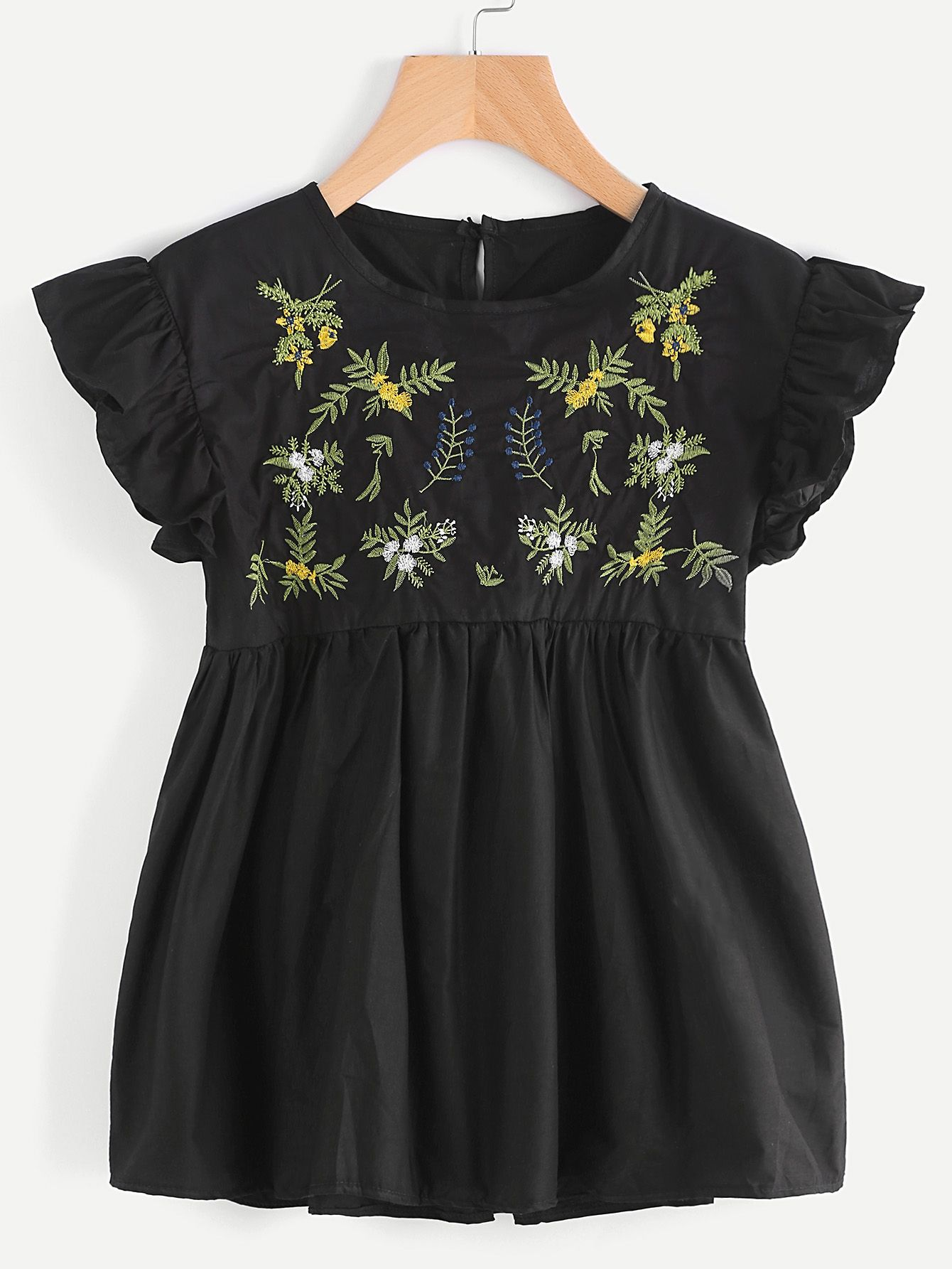 Shop Butterfly Sleeve Embroidered Keyhole Back Smock Blouse online. SheIn offers Butterfly Sleeve Embroidered Keyhole Back Smock Blouse & more to fit your fashionable needs.