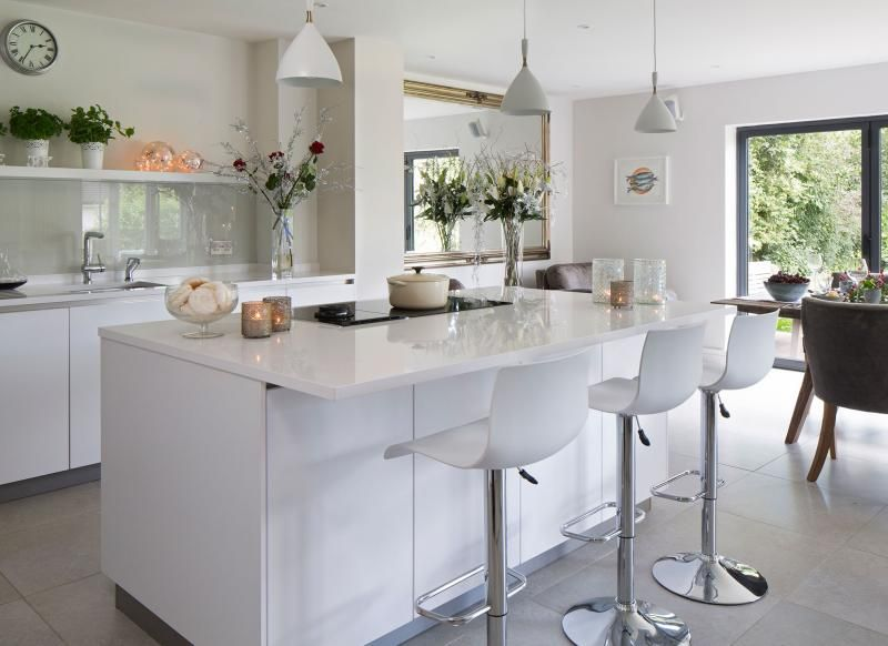 White Modern Kitchen With Island Unit And Hi Gloss