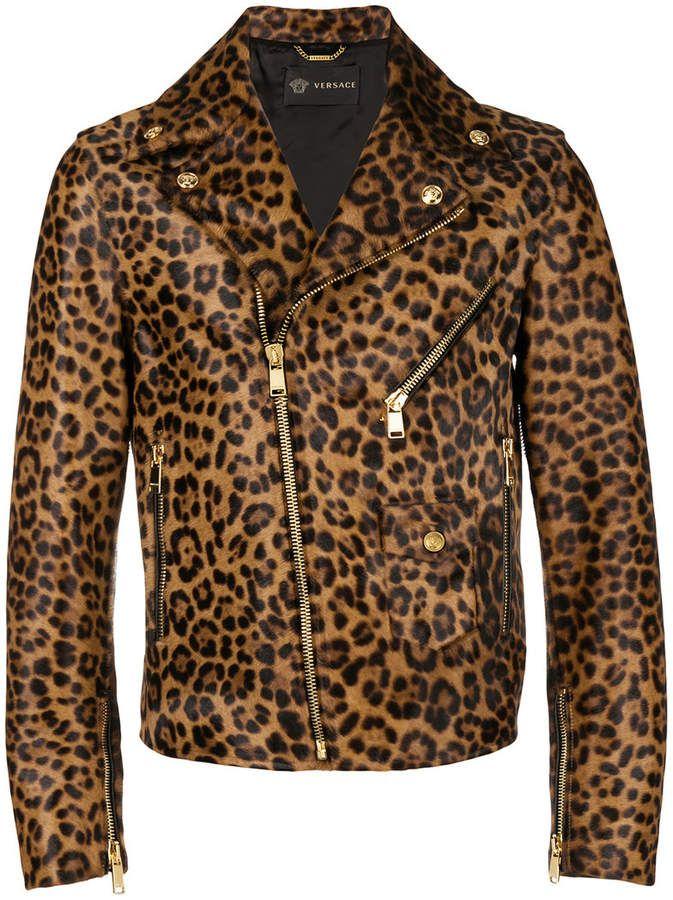 9fd4fa3d660c Versace leather leopard print biker jacket in 2019 | Tiger dress ...