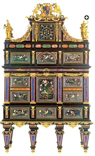 Meticulously shaped fragments of lapis and other semiprecious stones, some smaller than the white part of a fingernail, are minutely composed to depict birds flitting among sprays of flowers and ribbons on the badminton Cabinet. Standing four meters—nearly 13 feet—tall, it was produced in Florence over six years in the 18th century by some 30 artisans.