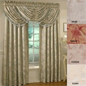 Floral Lustre Curtain Panels Waterfall Valances In 4 Colors