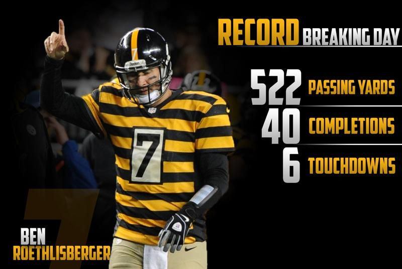 Bigben7 Had Quite The Day 10 26 14 Pittsburgh Steelers Nfl Steelers Steelers Football