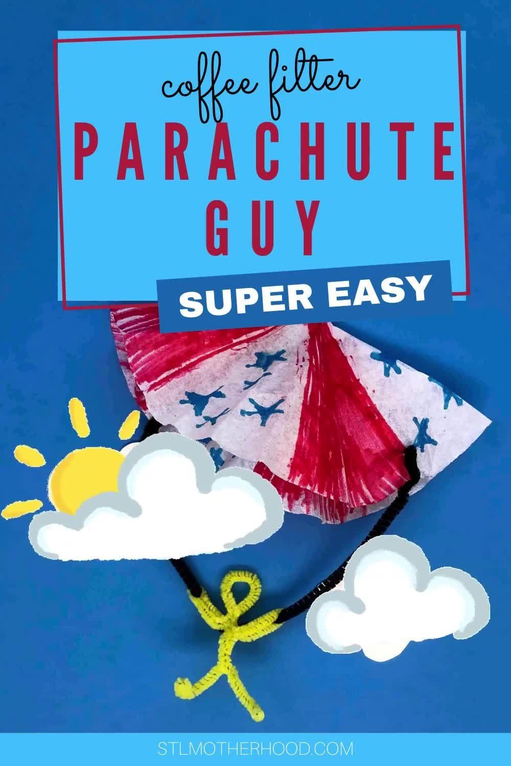 Here's a simple craft to get your kids playing outside--parachute guys, made from fuzzy sticks and a coffee filter. So easy to make and fun to color.
