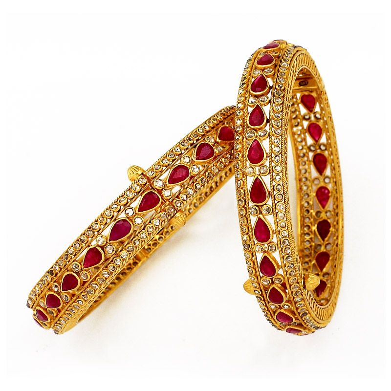 GRT | Collections | Diamond | Bangles | Uncut Diamond Bangles with ...