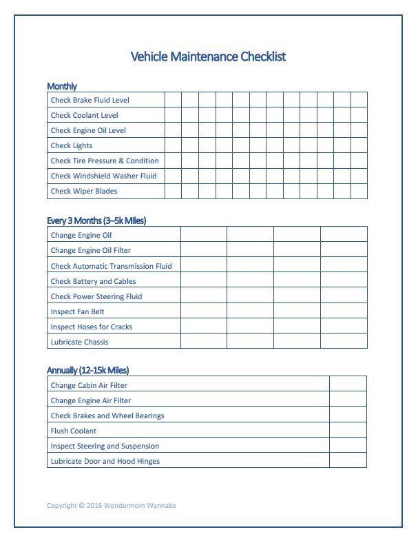 Photo of Free Printable Car Maintenance Checklist