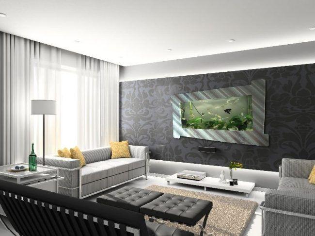 Aquarium Ideen Wohnzimmer Wand Integriert Rahmen