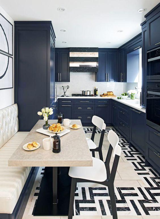 Cozinhas Modernas U2013 40 Ideias Para Planejar A Sua. Blue Kitchen  CabinetsKitchen FloorsKitchen BanquetteHome Decor ... Part 80
