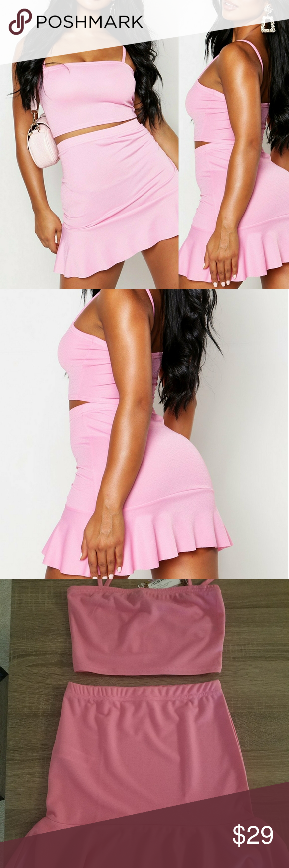 Pink candy 🎀 pink skirt set NEW!!!! Totally Cute PINK skirt set  BARBIE VIBES😍😍☺ PRETTY IN PINK😍 👉 perfect for VEGAS 👉perfect for party's 💎 You get :  Pink crop top and pink mini skirt! #90svibes Size: Us 4 . New with tags💗 #summer #party #vacation ❤️Form fitting style❤️ curve hugging ❤️ A must have for any