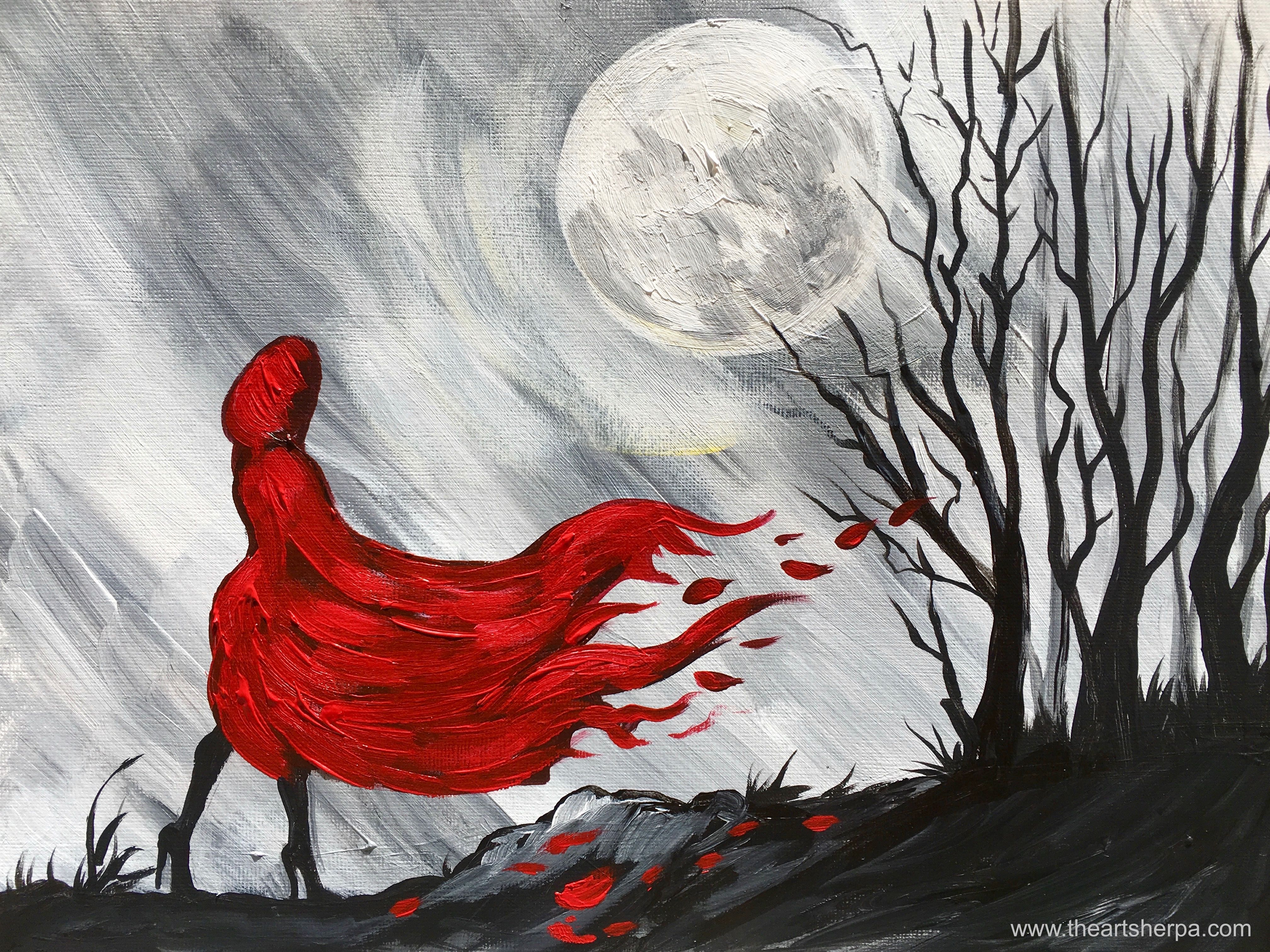 Little Red Riding Hood Easy painting on canvas Step by
