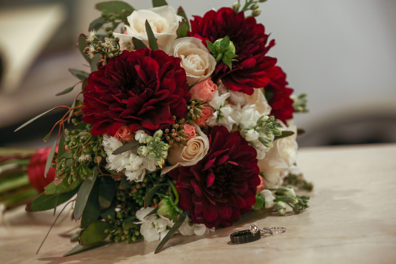 Dahlia Bridal Bouquet I Deep Red Wedding Flowers - Wedding