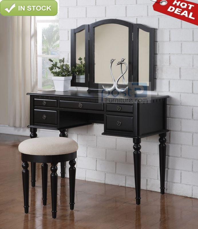 Tri-Mirror 5 Drawer Black Wood Makeup Table Dresser Vanity ...