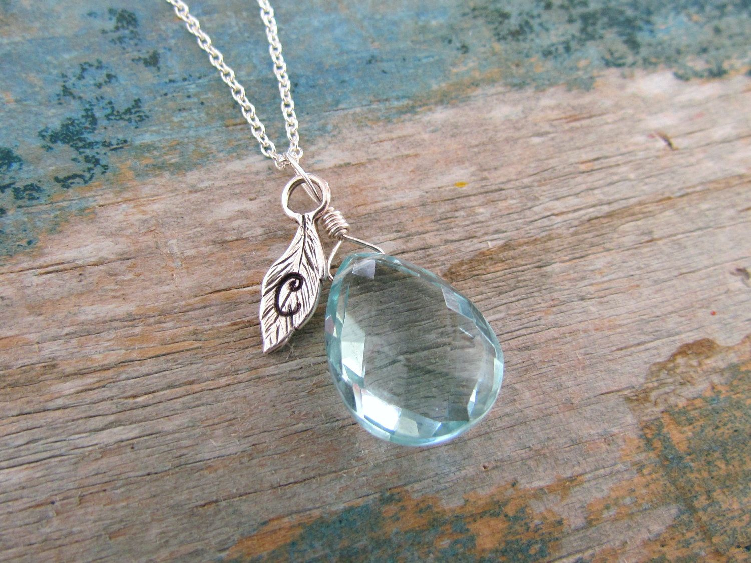 Personalized initial leaf necklace - aqua blue quartz, sterling silver, custom handstamped jewelry. $35.00, via Etsy.