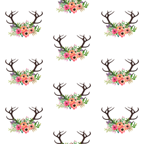 Floral Deer Antlers Fabric By Shopcabin On Spoonflower