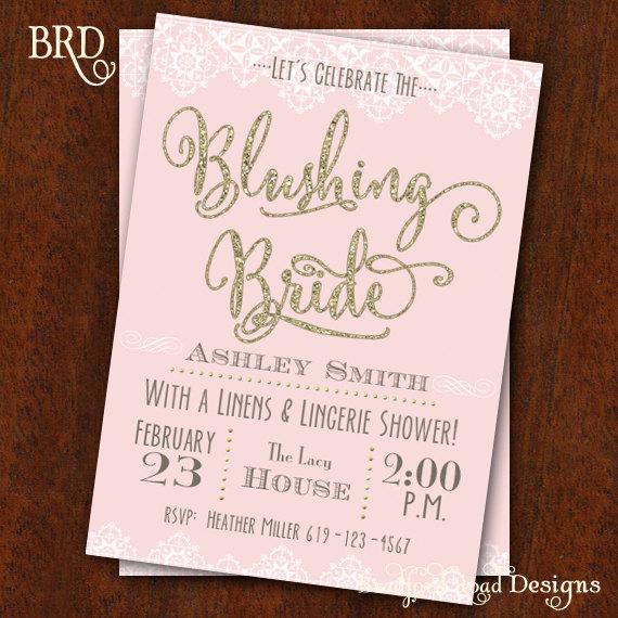 8de2972ae2ac Bridal Shower invitation Blushing Bride Lingerie Shower Bachelorette Party  Invitation Blush Gold Lace Bridal Shower 5x7 Printable