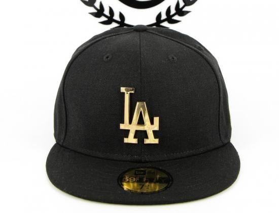 Custom NEW ERA x MLB「Los Angeles Dodgers Metal Black」59Fifty Fitted Baseball  Cap 5d0a1cc29544