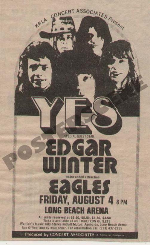 Original newspaper concert promo ad for Yes, Edgar Winter ...