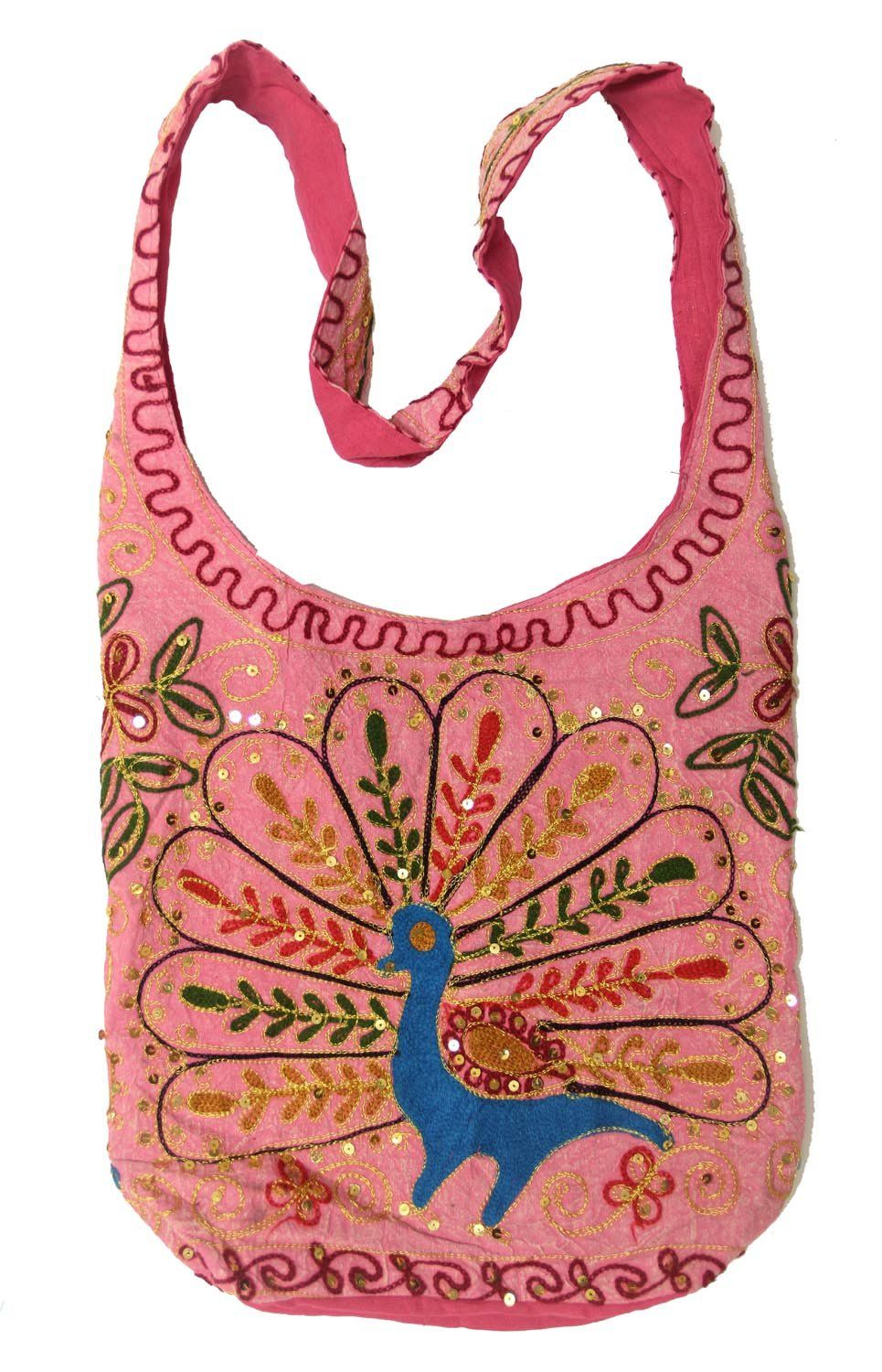 """Pink Cotton Peacock Embroidery Bohemian / Hippie Sling Crossbody Bag India. Approx 15"""" wide and 12"""" High and 5"""" X 9"""" Bottom. Shoulder Strap Measures approx 3"""" Wide and 44"""" long. Everyday and Every Occasions Bag. Fun Summer Holiday Bag. Fast."""