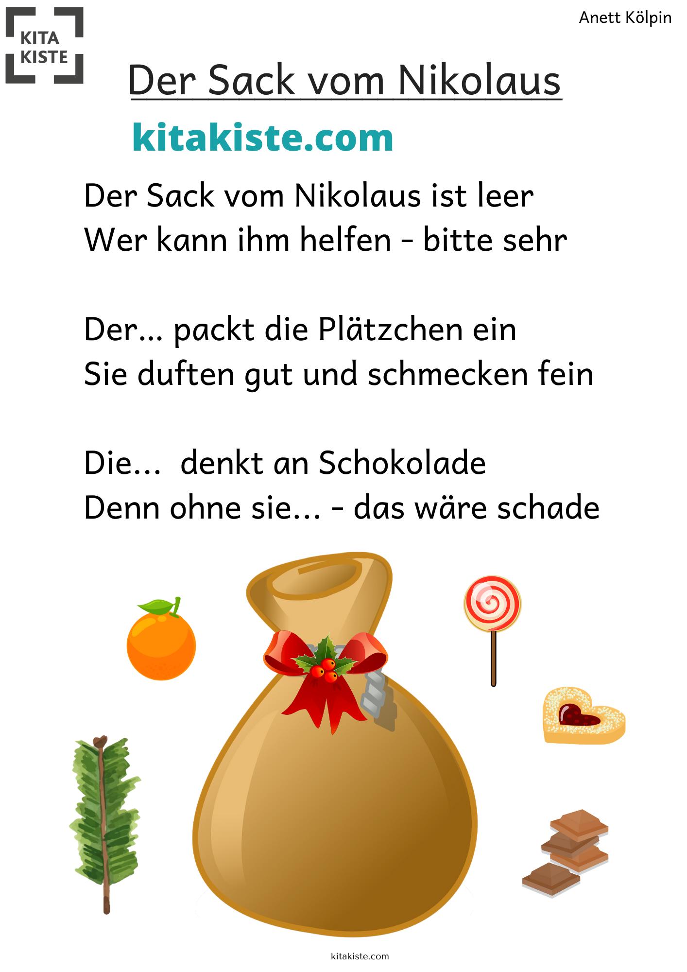 Der Sack Vom Nikolaus Fingerspiel Kindergarten Kinder 3 Jahre Fingerspiele Nikolaus