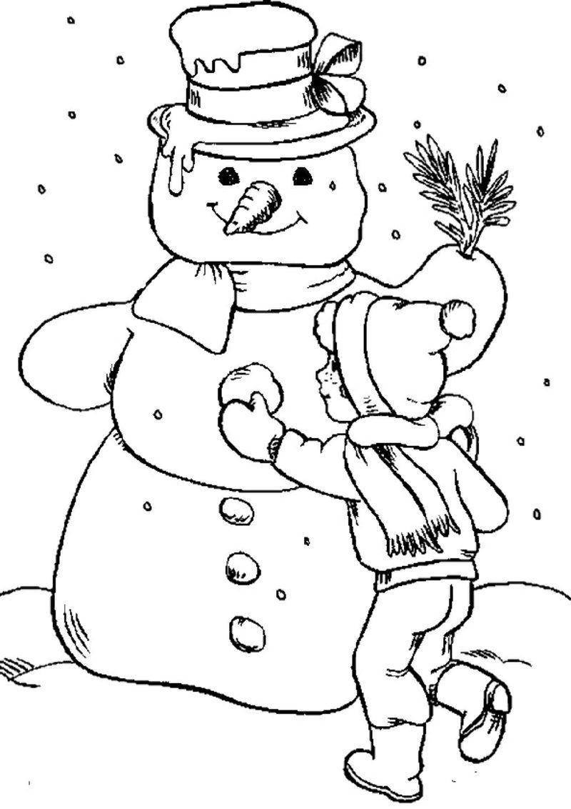 Ausmalbilder zu Weihnachten Kind macht grossen Schneemann ...