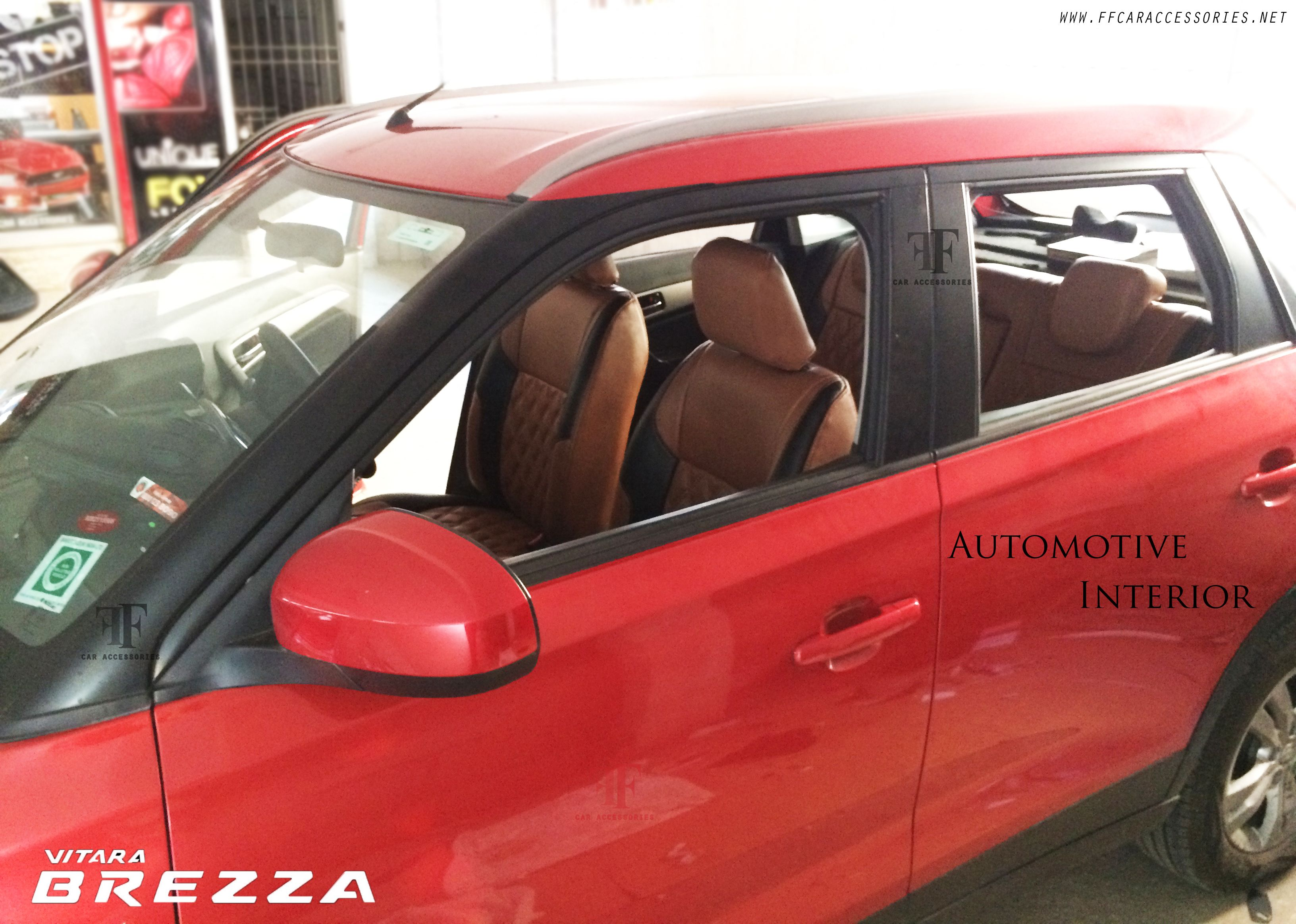 customised car seat cover for red colour maruti suzuki vitara brezza designed and installed by. Black Bedroom Furniture Sets. Home Design Ideas