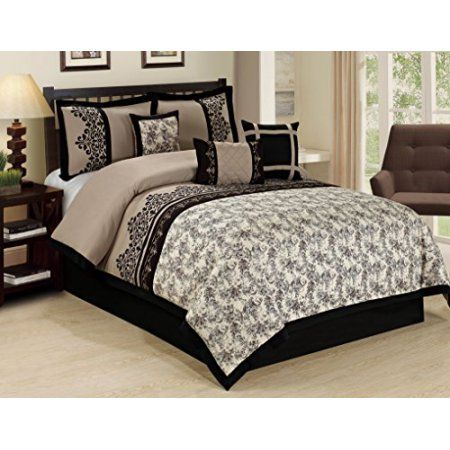 7 Piece Lupe Crowded Flower Print Clearance Bedding Comforter Set