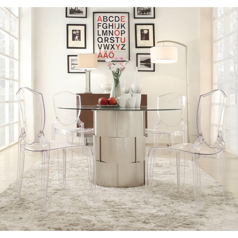 Inspire Q Elbridge Woven Drum Crystal Clear Dining Set (Kona Crystal Clear  Chrome Dining Set), Size Sets