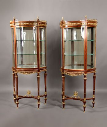 A Fantastic Pair of Late 19th Century Louis XVI Style Gilt Bronze Mounted Demilune Vitrines By Paul Sormani