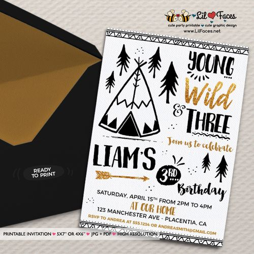 Young wild and three birthday invitation tribal gold and black young wild and three birthday invitation black and gold printable birthday invite printable diy invitation stopboris Images