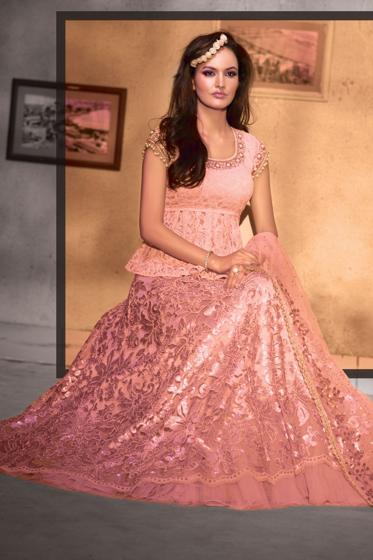 Baby pink lace choli with pink lace flared lehenga-GC353 | Wedding ...