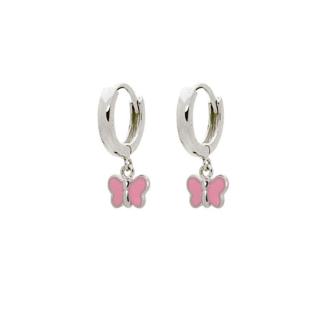 BecKids Girls Sterling Silver Huggie Earrings Dangling Pink Enamel Butterfly Charm,10mm