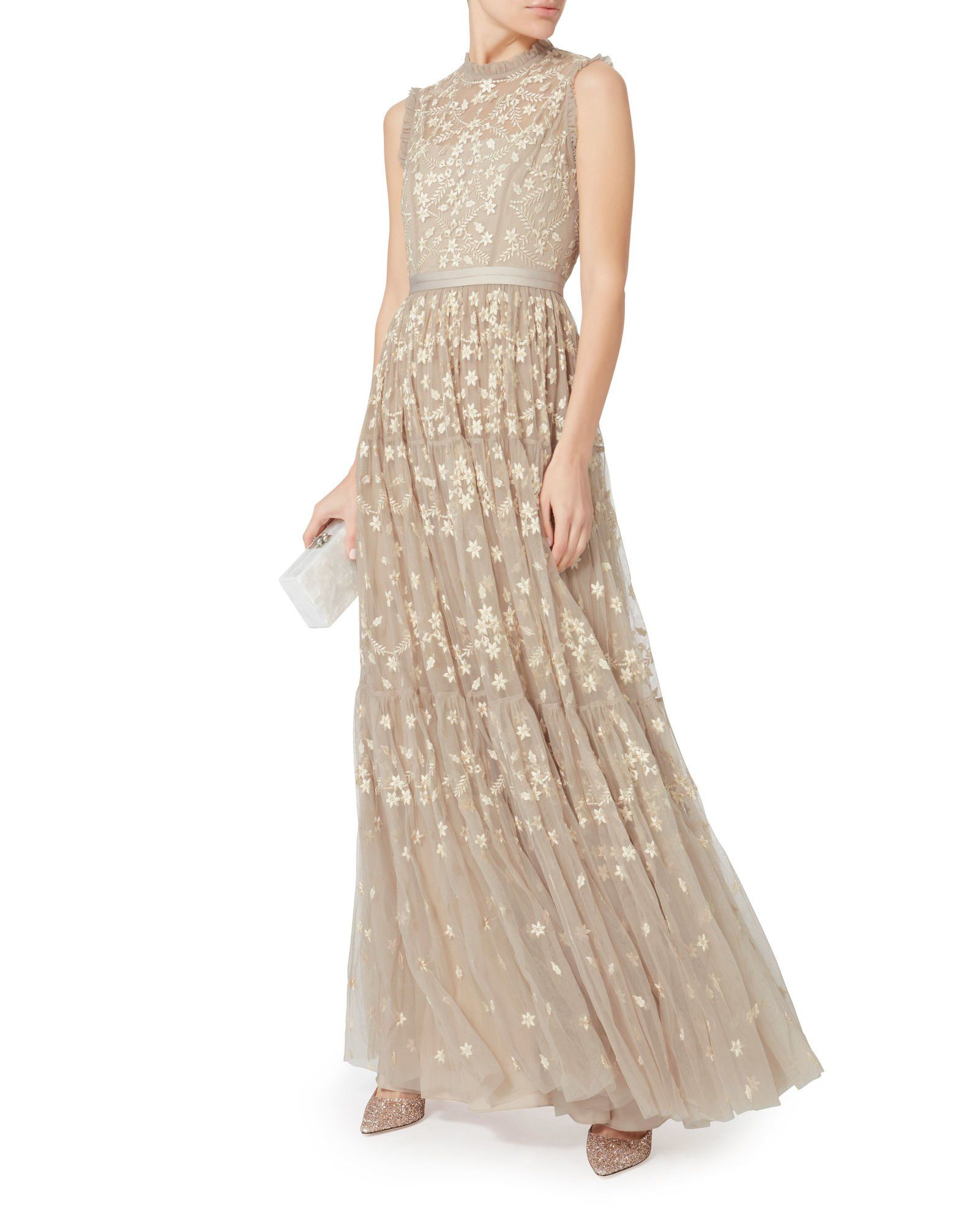 Clover-Embellished Gown, BEIGE, hi-res | Wedding Junk | Pinterest ...