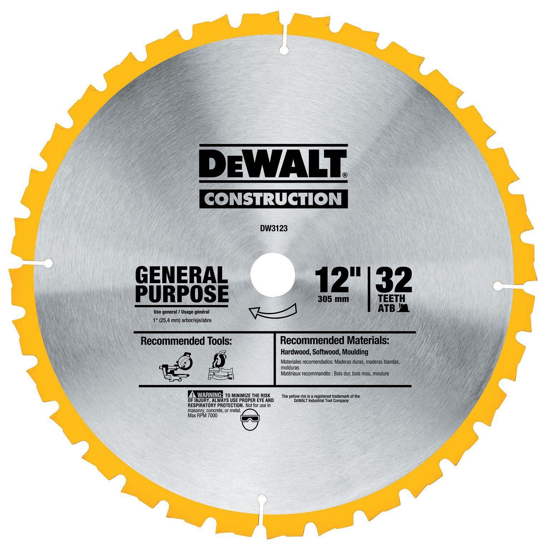 "Stanley Dewalt DW3123 12"" General Purpose Circular Saw Blade"