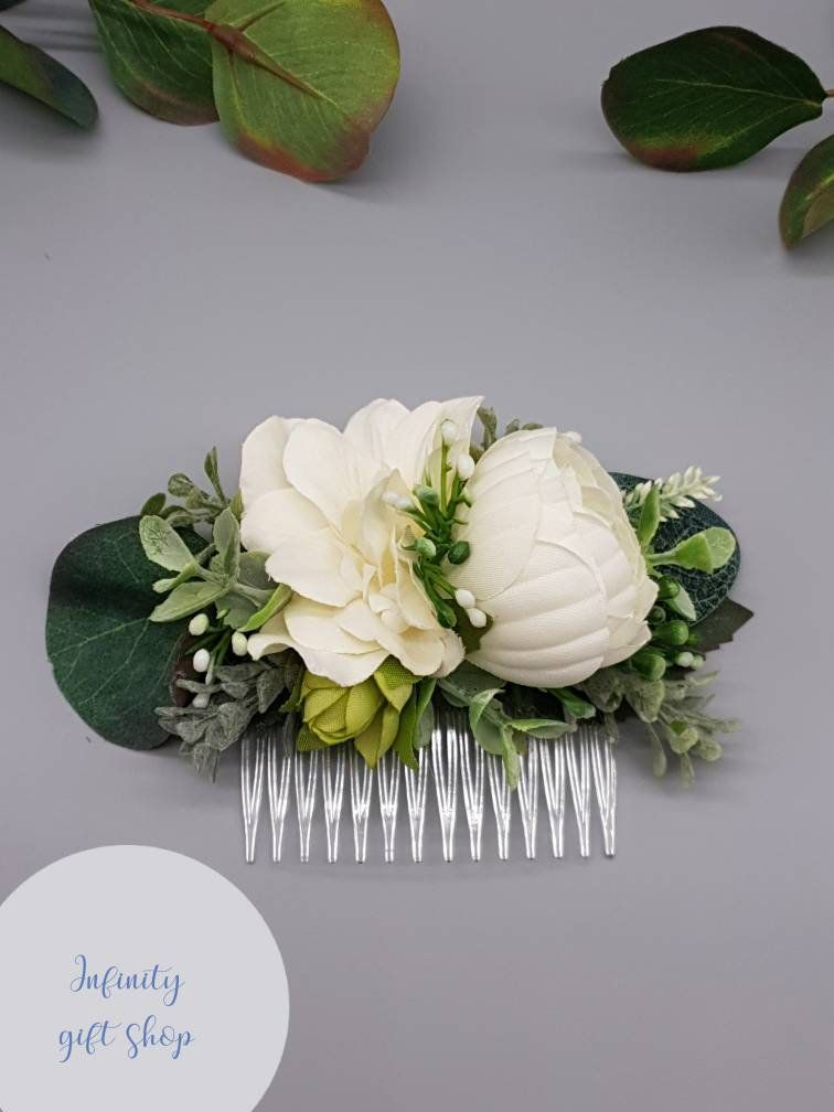 Artificial White Ivory Green Flower Wedding Hair Comb Artificial