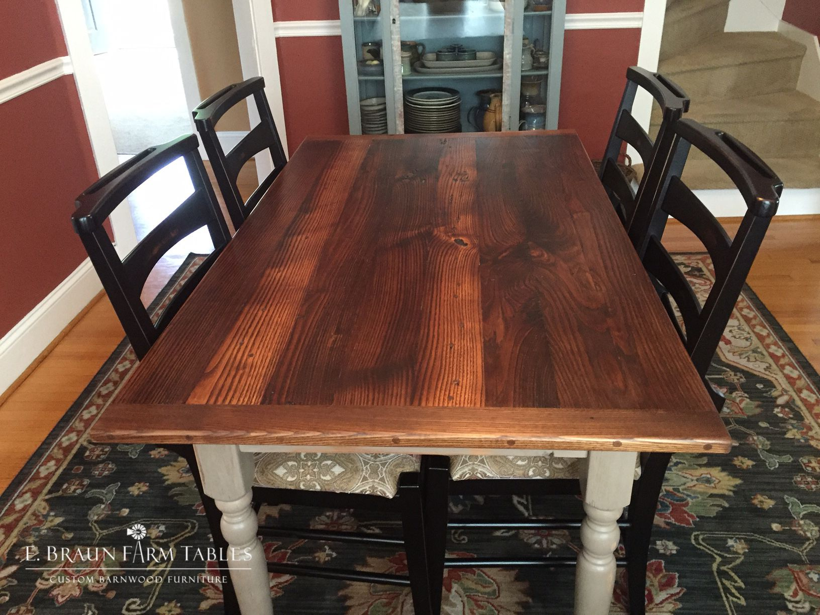"""This smaller (5'L x 34""""W) reclaimed barn wood table has a"""